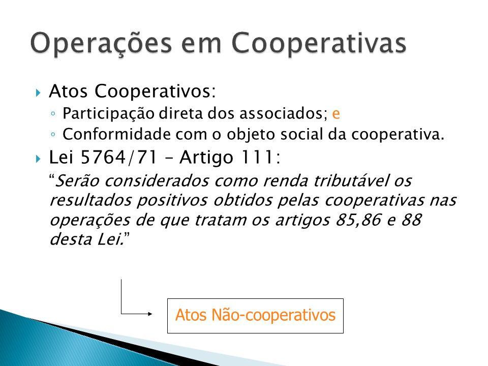 Atos Cooperativos: Participação direta dos associados; e Conformidade com o objeto social da cooperativa. Lei 5764/71 – Artigo 111: Serão considerados