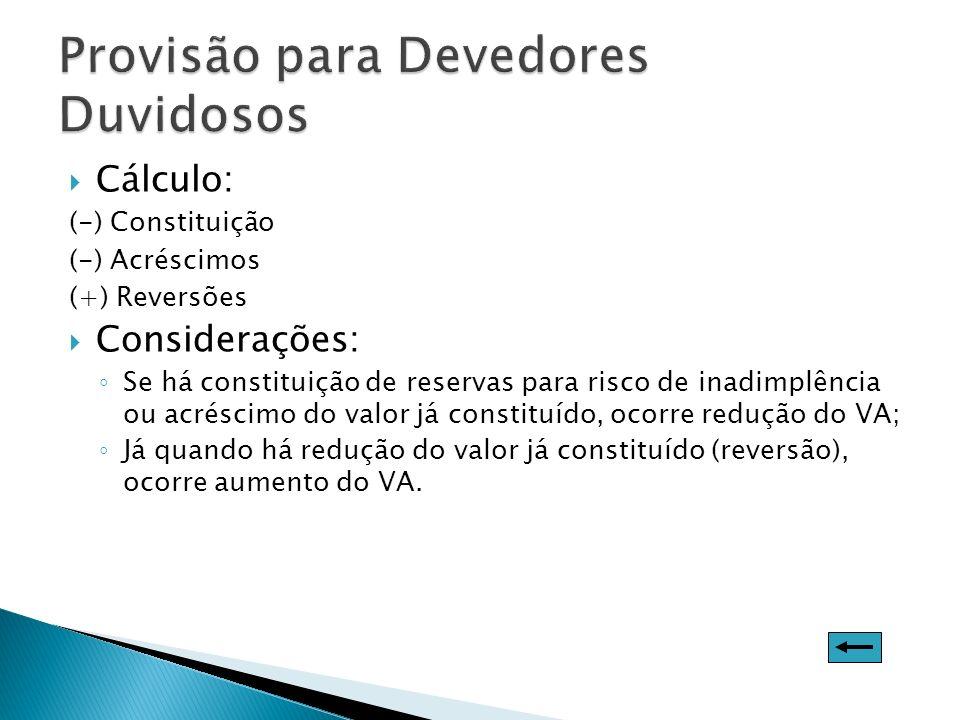 Cálculo: (-) Constituição (-) Acréscimos (+) Reversões Considerações: Se há constituição de reservas para risco de inadimplência ou acréscimo do valor