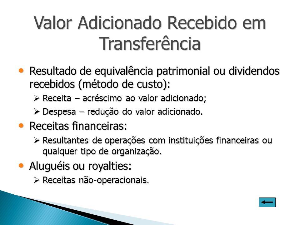 Valor Adicionado Recebido em Transferência Resultado de equivalência patrimonial ou dividendos recebidos (método de custo): Resultado de equivalência