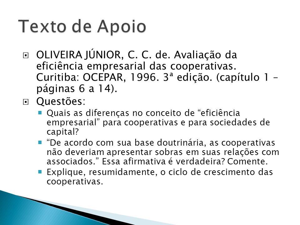 OLIVEIRA JÚNIOR, C. C. de. Avaliação da eficiência empresarial das cooperativas. Curitiba: OCEPAR, 1996. 3ª edição. (capítulo 1 – páginas 6 a 14). Que