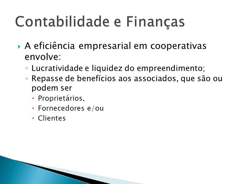 A eficiência empresarial em cooperativas envolve: Lucratividade e liquidez do empreendimento; Repasse de benefícios aos associados, que são ou podem s