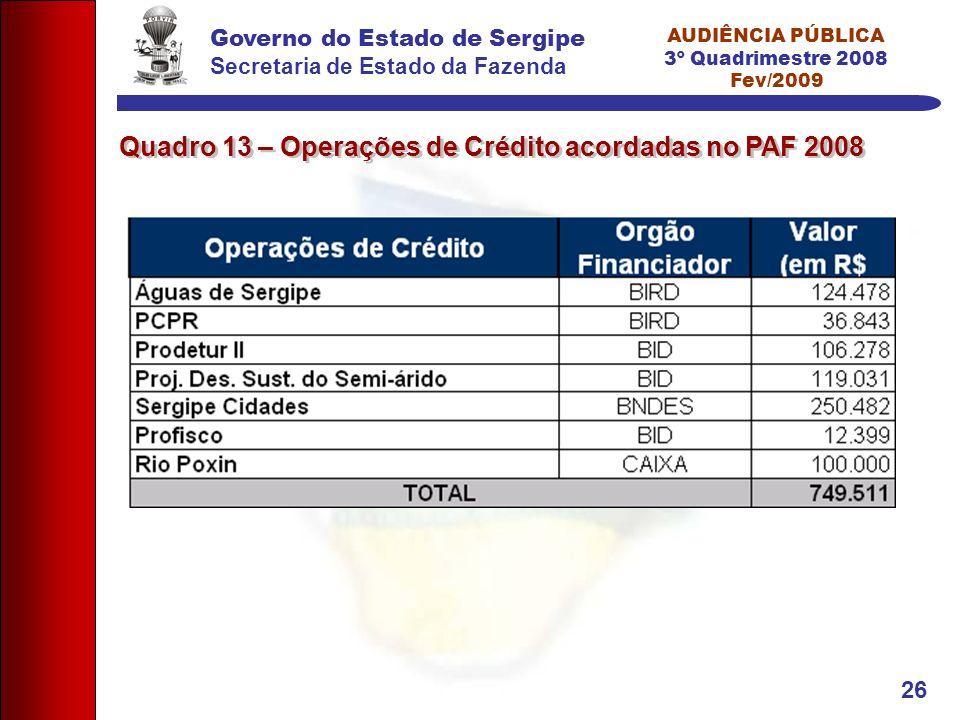 Governo do Estado de Sergipe Secretaria de Estado da Fazenda AUDIÊNCIA PÚBLICA 3º Quadrimestre 2008 Fev/2009 26 Quadro 13 – Operações de Crédito acordadas no PAF 2008