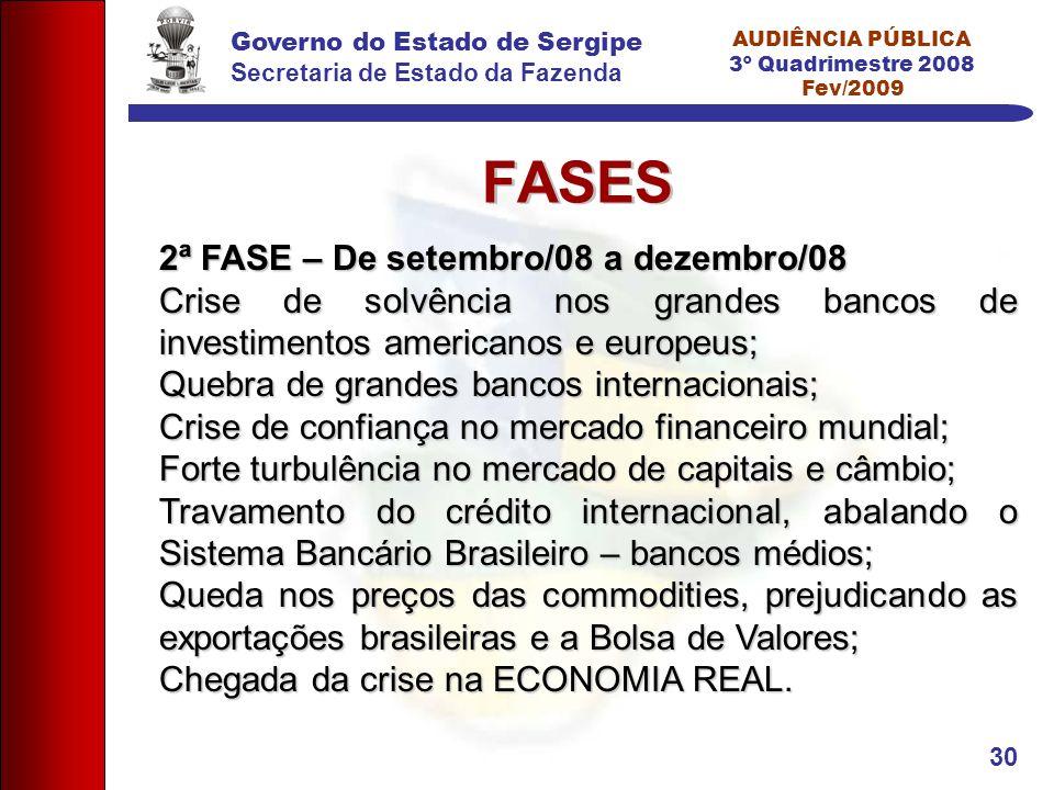 Governo do Estado de Sergipe Secretaria de Estado da Fazenda AUDIÊNCIA PÚBLICA 3º Quadrimestre 2008 Fev/2009 30 FASES 2ª FASE – De setembro/08 a dezem