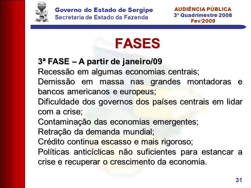 Governo do Estado de Sergipe Secretaria de Estado da Fazenda AUDIÊNCIA PÚBLICA 3º Quadrimestre 2008 Fev/2009 31 FASES 3ª FASE – A partir de janeiro/09