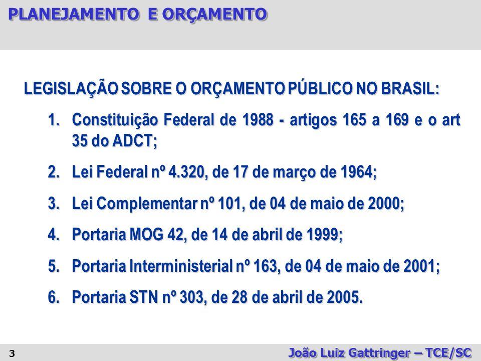 PLANEJAMENTO E ORÇAMENTO João Luiz Gattringer – TCE/SC 54 CRÉDITOS ADICIONAIS TIPOS PROCESSO ORÇAMENTÁRIO I.SUPLEMENTARES, os destinados a reforço de dotação orçamentária (O crédito orçamentário já existe, porém a dotação é insuficiente) ; II.ESPECIAIS; os destinados a despesas para as quais não haja dotação orçamentária específica (o crédito orçamentário não existe e deve ser criado) ; III.EXTRAORDINÁRIOS, os destinados a despesas urgentes e imprevistas, em caso de guerra, comoção intestina ou calamidade pública (caracterizado pela urgência – sob condição).