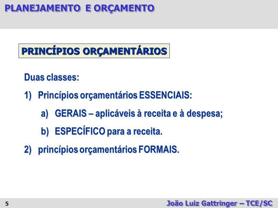 PLANEJAMENTO E ORÇAMENTO João Luiz Gattringer – TCE/SC 16 TIPOS DE ORÇAMENTO 3.