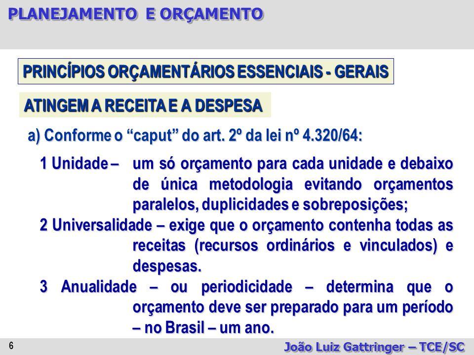 PLANEJAMENTO E ORÇAMENTO João Luiz Gattringer – TCE/SC 57 PROCESSO ORÇAMENTÁRIO AUTORIZAÇÃO E ABERTURA = são abertos por decreto do poder executivo com imediata remessa ao poder legislativo (lei nº 4.320/64, art.