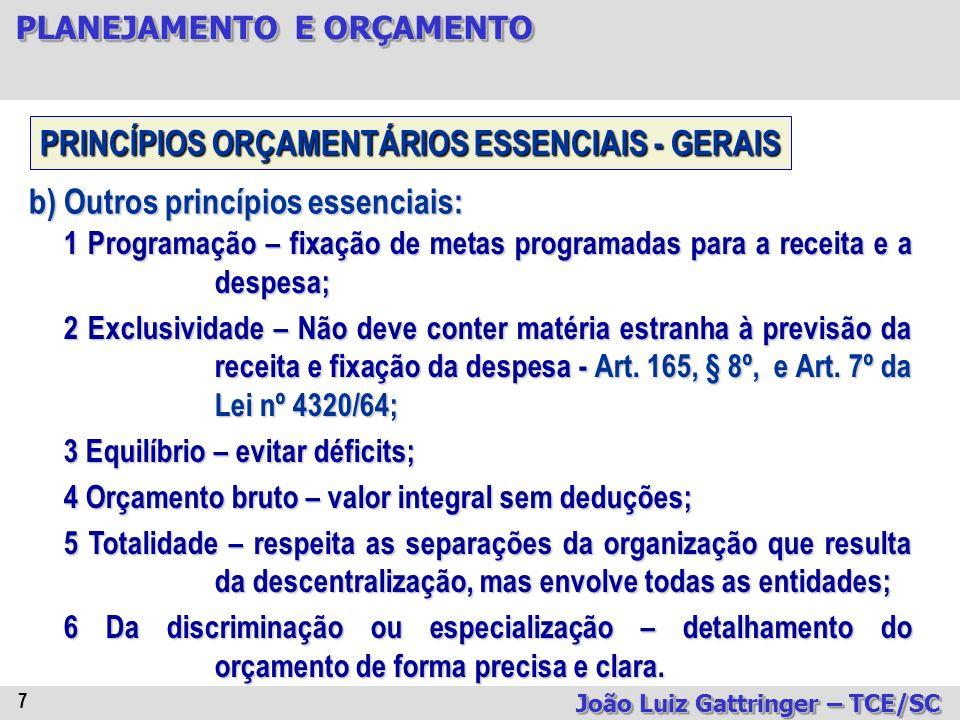 PLANEJAMENTO E ORÇAMENTO João Luiz Gattringer – TCE/SC 28 CONTEÚDO: A)AS REGRAS SOBRE A REALIZAÇÃO DAS METAS FIXADAS NO PPA E SUA PRIORIZAÇÃO NA LOA; B)A ORGANIZAÇÃO DA LOA; C)O EQUILÍBRIO FINANCEIRO; D)O ALCANCE DOS RESULTADOS NOMINAL E PRIMÁRIO FIXADOS; E)A RENÚNCIA DE RECEITAS; F)O AUMENTO DE TRIBUTOS; G)OS LIMITES ORÇAMENTÁRIOS IMPOSTOS AO FUNCIONAMENTO DO PODER LEGISLATIVO; LDO - CRFB/88, art.