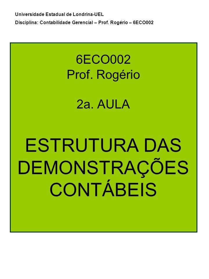 6ECO002 Prof. Rogério 2a. AULA ESTRUTURA DAS DEMONSTRAÇÕES CONTÁBEIS Universidade Estadual de Londrina-UEL Disciplina: Contabilidade Gerencial – Prof.