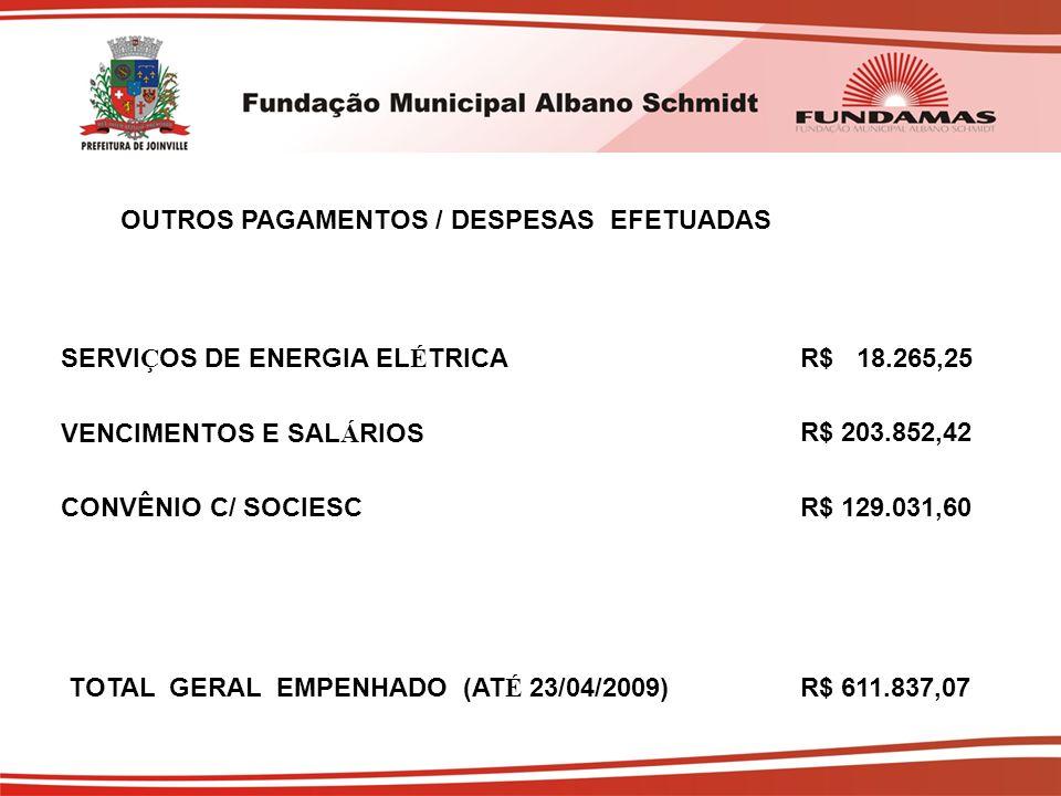 OUTROS PAGAMENTOS / DESPESAS EFETUADAS SERVI Ç OS DE ENERGIA EL É TRICAR$ 18.265,25 VENCIMENTOS E SAL Á RIOSR$ 203.852,42 CONVÊNIO C/ SOCIESCR$ 129.031,60 TOTAL GERAL EMPENHADO (AT É 23/04/2009)R$ 611.837,07
