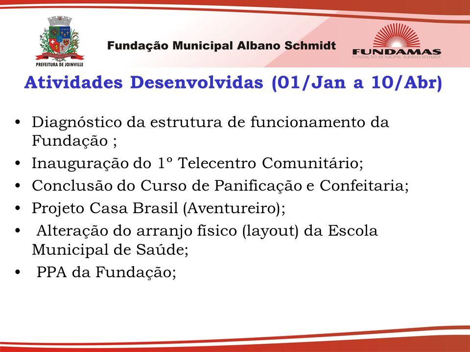 Atividades Desenvolvidas (01/Jan a 10/Abr) Diagnóstico da estrutura de funcionamento da Fundação ; Inauguração do 1º Telecentro Comunitário; Conclusão