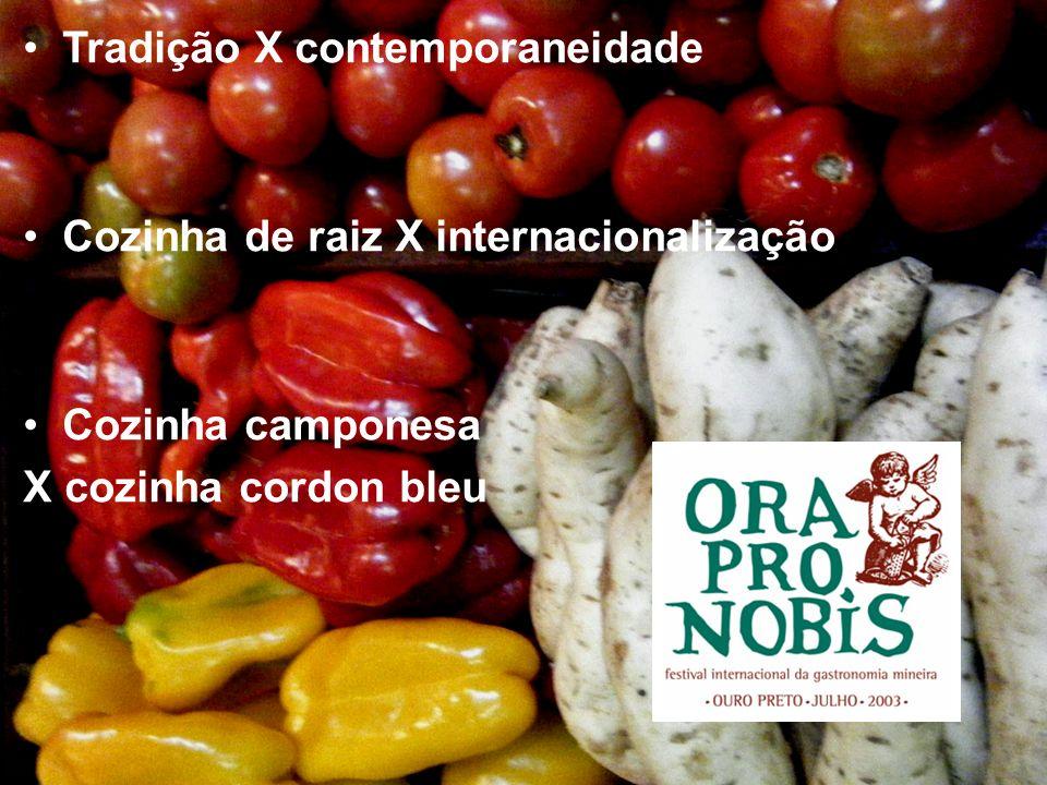 Tradição X contemporaneidade Cozinha de raiz X internacionalização Cozinha camponesa X cozinha cordon bleu