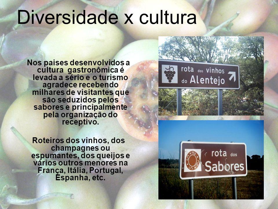 Diversidade x cultura Nos paises desenvolvidos a cultura gastronômica é levada a sério e o turismo agradece recebendo milhares de visitantes que são seduzidos pelos sabores e principalmente pela organização do receptivo.