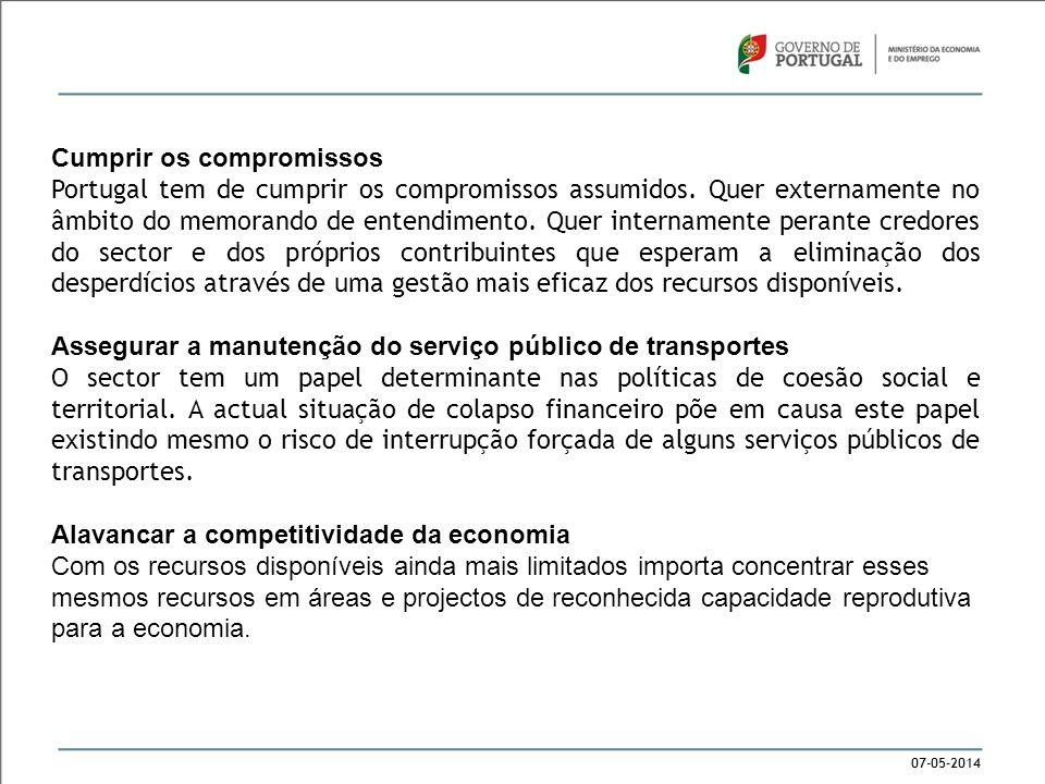 07-05-2014 Cumprir os compromissos Portugal tem de cumprir os compromissos assumidos. Quer externamente no âmbito do memorando de entendimento. Quer i