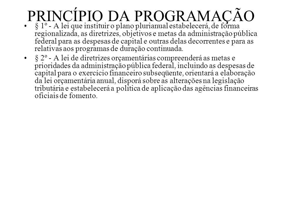 PRINCÍPIO DA PROGRAMAÇÃO § 1º - A lei que instituir o plano plurianual estabelecerá, de forma regionalizada, as diretrizes, objetivos e metas da admin