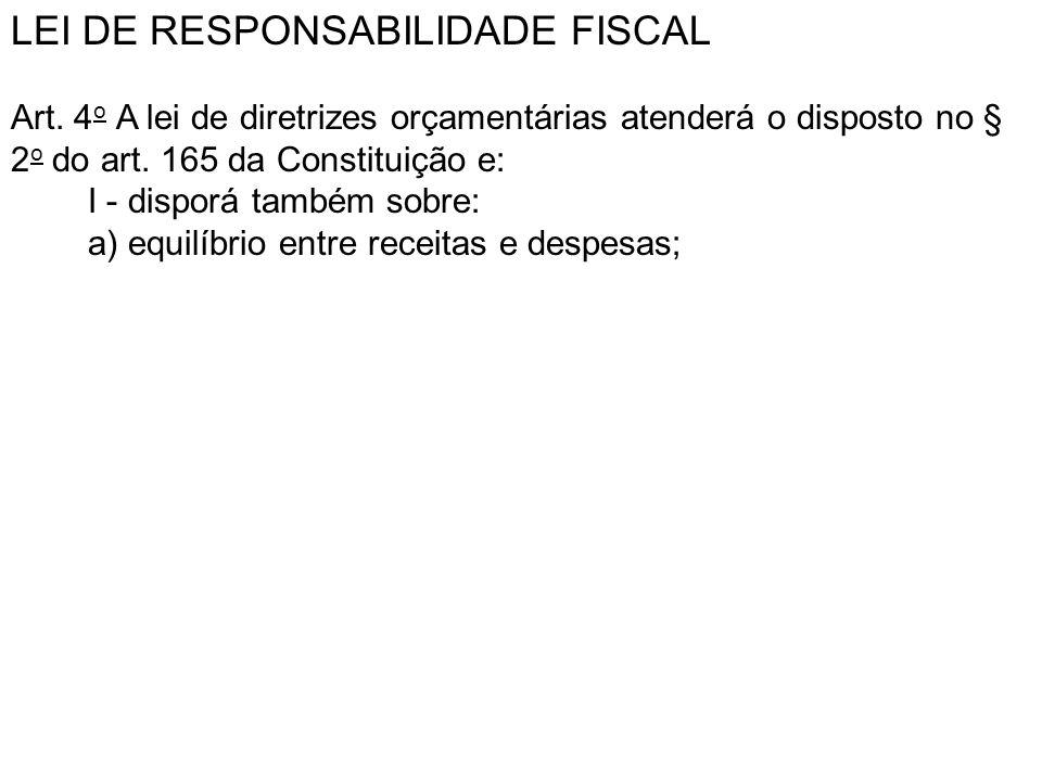 LEI DE RESPONSABILIDADE FISCAL Art. 4 o A lei de diretrizes orçamentárias atenderá o disposto no § 2 o do art. 165 da Constituição e: I - disporá tamb