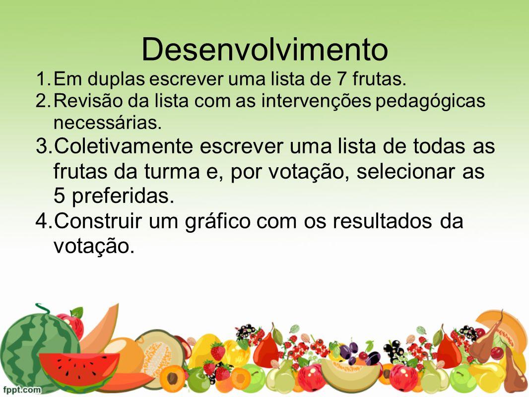 Desenvolvimento 1.Em duplas escrever uma lista de 7 frutas. 2.Revisão da lista com as intervenções pedagógicas necessárias. 3.Coletivamente escrever u