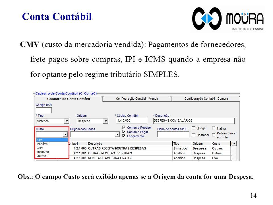 CMV (custo da mercadoria vendida): Pagamentos de fornecedores, frete pagos sobre compras, IPI e ICMS quando a empresa não for optante pelo regime trib