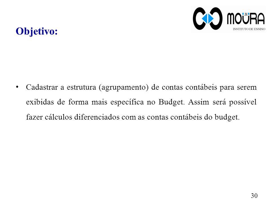 Objetivo: Cadastrar a estrutura (agrupamento) de contas contábeis para serem exibidas de forma mais específica no Budget. Assim será possível fazer cá