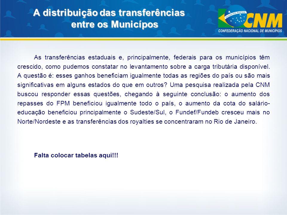 A distribuição das transferências entre os Municípos As transferências estaduais e, principalmente, federais para os municípios têm crescido, como pud