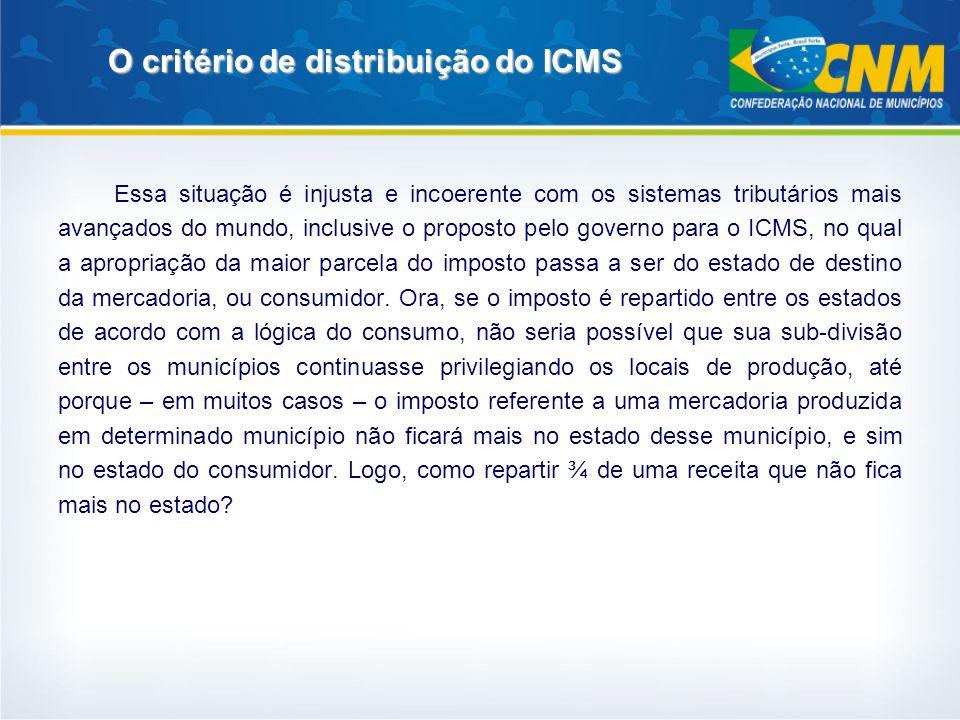 O critério de distribuição do ICMS Mas, além de incoerente, esse sistema é altamente injusto, porque alguns municípios chegam a ter um retorno do ICMS 100 vezes maior do que outros em termos per capita, como vimos.
