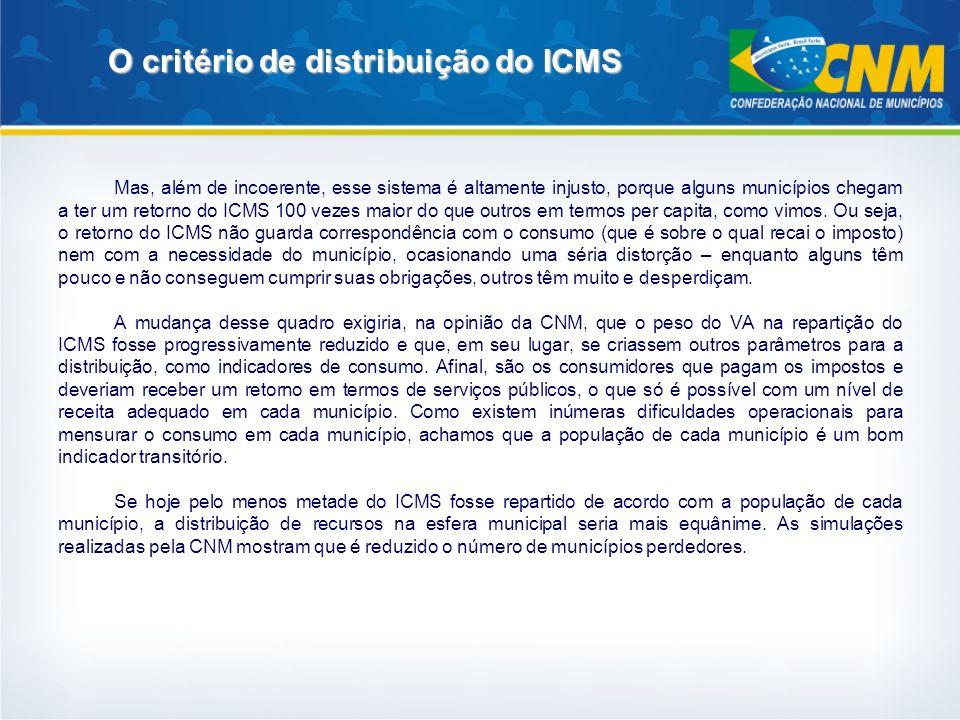 O critério de distribuição do ICMS Mas, além de incoerente, esse sistema é altamente injusto, porque alguns municípios chegam a ter um retorno do ICMS
