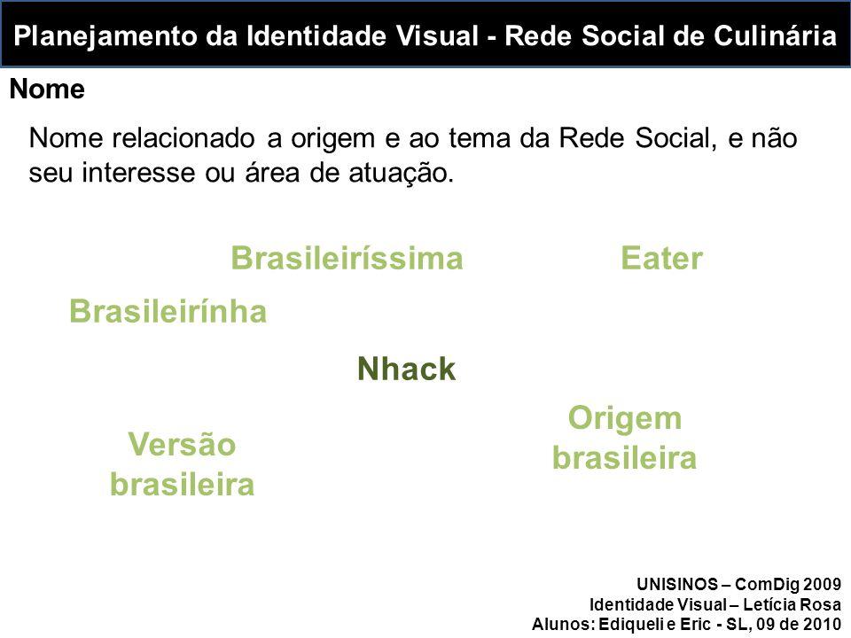 Brasileiríssima Nome relacionado a origem e ao tema da Rede Social, e não seu interesse ou área de atuação.