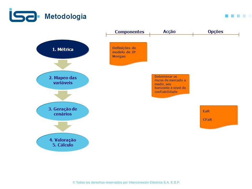 Definições do modelo de JP Morgan Determinar os riscos de mercado a medir, seu horizonte e nível de confiabilidade EaR CFaR Componentes AcçãoOpções Me