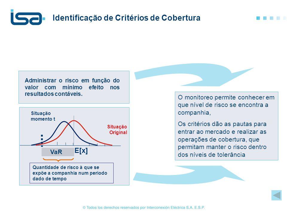 Administrar o risco em função do valor com mínimo efeito nos resultados contáveis. O monitoreo permite conhecer em que nível de risco se encontra a co