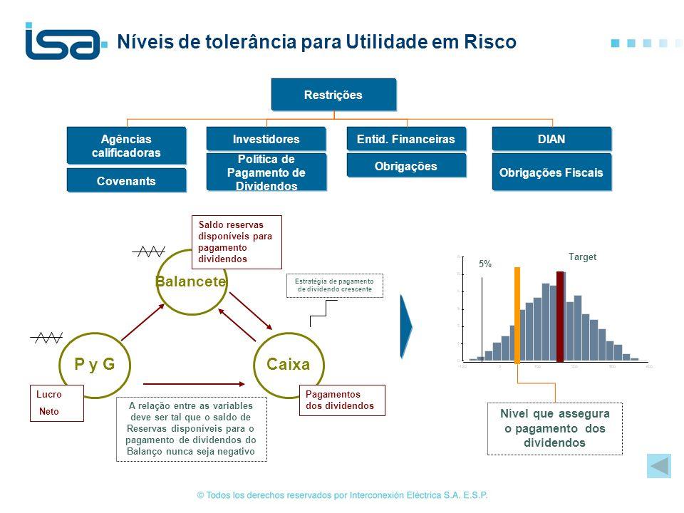 Níveis de tolerância para Utilidade em Risco Target 5% Balancete Caixa P y G Saldo reservas disponíveis para pagamento dividendos Lucro Neto Pagamento