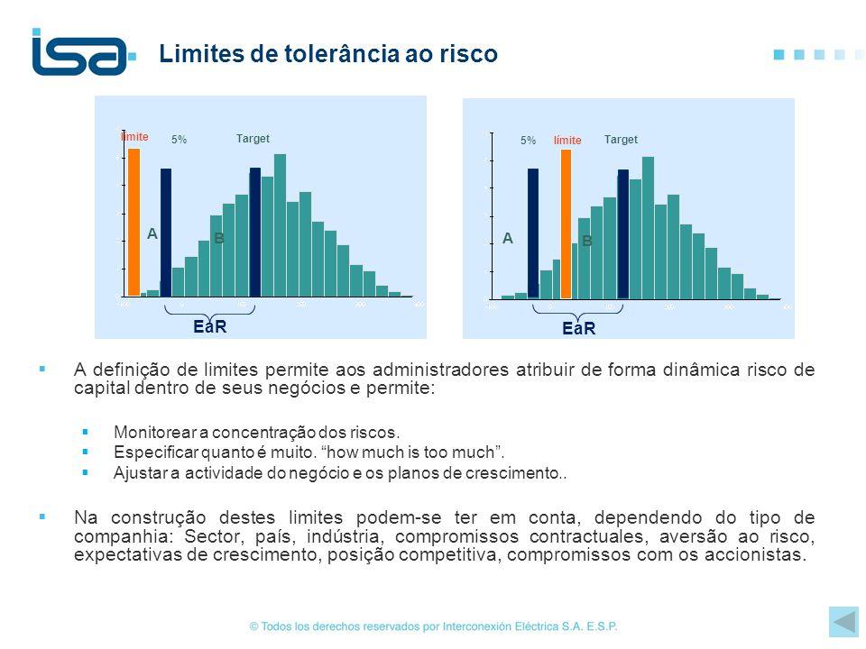 Limites de tolerância ao risco A definição de limites permite aos administradores atribuir de forma dinâmica risco de capital dentro de seus negócios