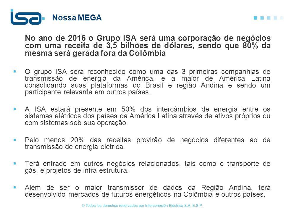 Nossa MEGA No ano de 2016 o Grupo ISA será uma corporação de negócios com uma receita de 3,5 bilhões de dólares, sendo que 80% da mesma será gerada fo