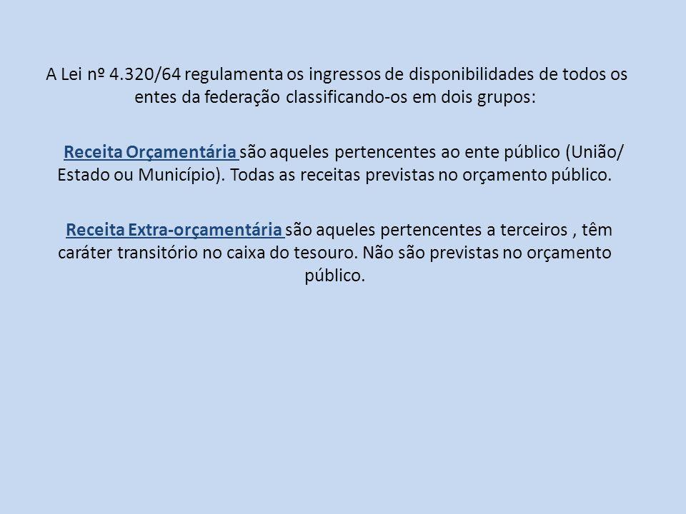 A Lei nº 4.320/64 regulamenta os ingressos de disponibilidades de todos os entes da federação classificando-os em dois grupos: Receita Orçamentária sã