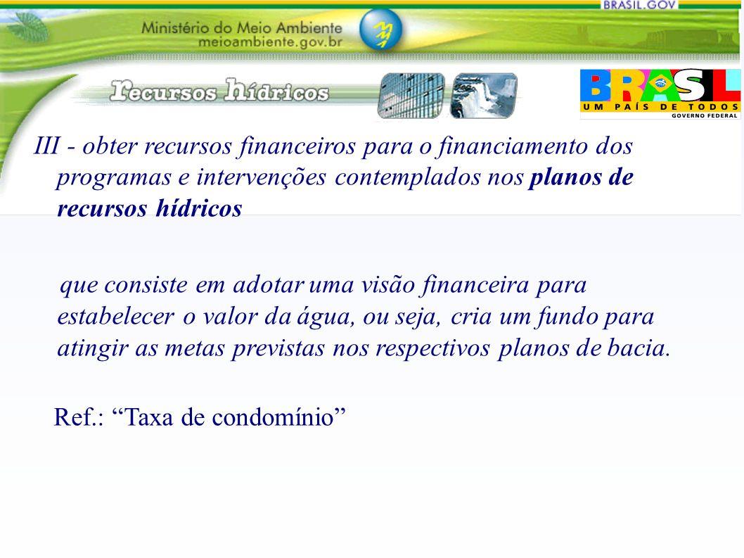 III - obter recursos financeiros para o financiamento dos programas e intervenções contemplados nos planos de recursos hídricos que consiste em adotar