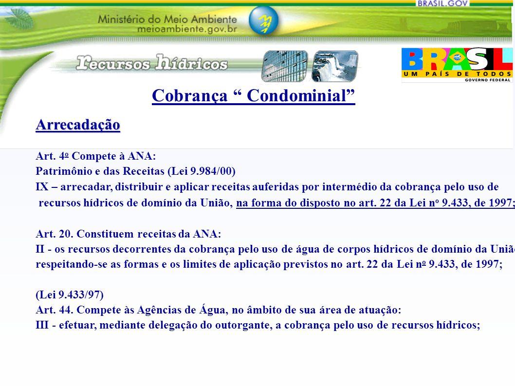 Arrecadação Art. 4 o Compete à ANA: Patrimônio e das Receitas (Lei 9.984/00) IX – arrecadar, distribuir e aplicar receitas auferidas por intermédio da