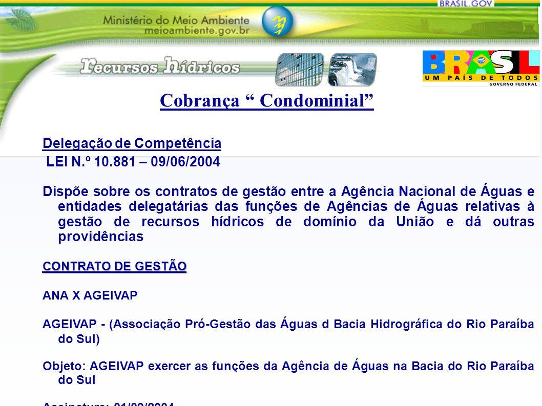 Delegação de Competência LEI N.º 10.881 – 09/06/2004 Dispõe sobre os contratos de gestão entre a Agência Nacional de Águas e entidades delegatárias das funções de Agências de Águas relativas à gestão de recursos hídricos de domínio da União e dá outras providências CONTRATO DE GESTÃO ANA X AGEIVAP AGEIVAP - (Associação Pró-Gestão das Águas d Bacia Hidrográfica do Rio Paraíba do Sul) Objeto: AGEIVAP exercer as funções da Agência de Águas na Bacia do Rio Paraíba do Sul Assinatura: 01/09/2004