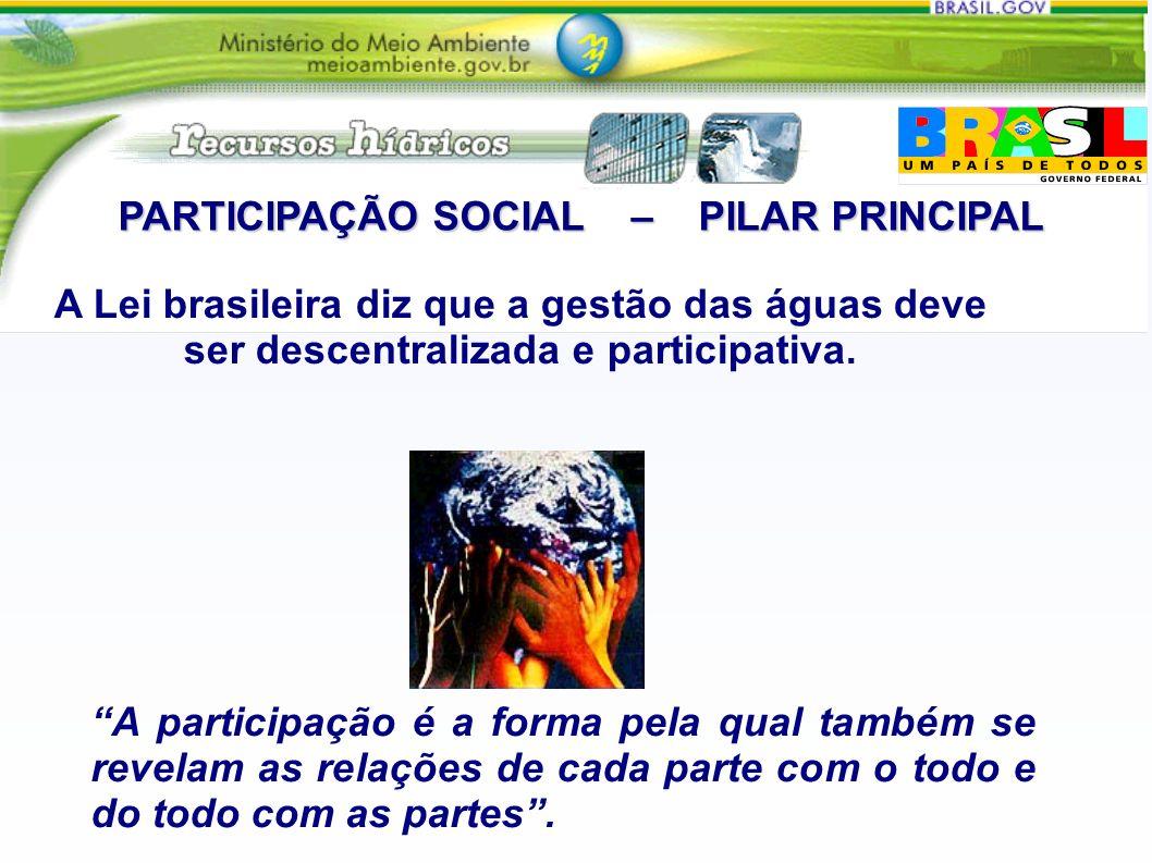 PARTICIPAÇÃO SOCIAL – PILAR PRINCIPAL A participação é a forma pela qual também se revelam as relações de cada parte com o todo e do todo com as partes.