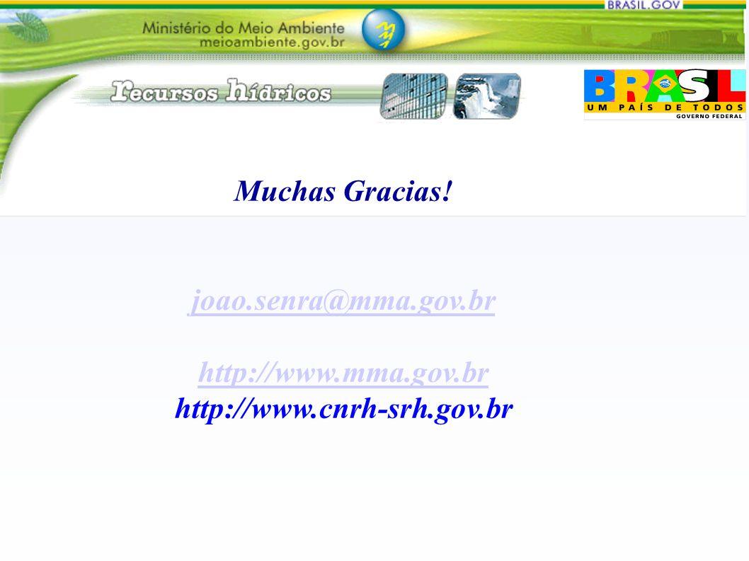 Muchas Gracias! joao.senra@mma.gov.br http://www.mma.gov.br http://www.cnrh-srh.gov.br
