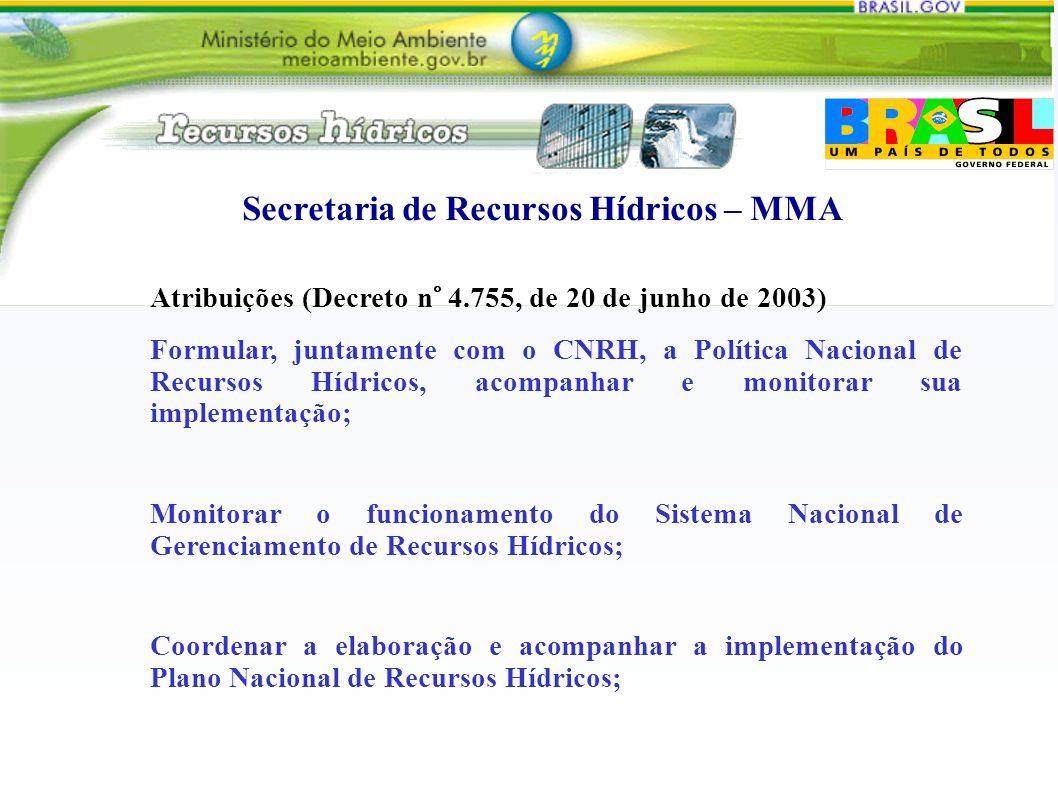 Secretaria de Recursos Hídricos – MMA Atribuições (Decreto n° 4.755, de 20 de junho de 2003) Formular, juntamente com o CNRH, a Política Nacional de R