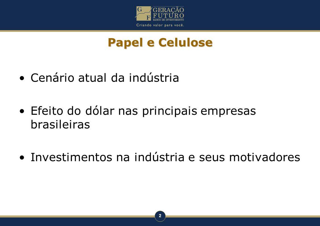2 Papel e Celulose Cenário atual da indústria Efeito do dólar nas principais empresas brasileiras Investimentos na indústria e seus motivadores