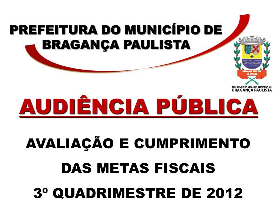 AVALIAÇÃO E CUMPRIMENTO DAS METAS FISCAIS 3º QUADRIMESTRE DE 2012 AUDIÊNCIA PÚBLICA