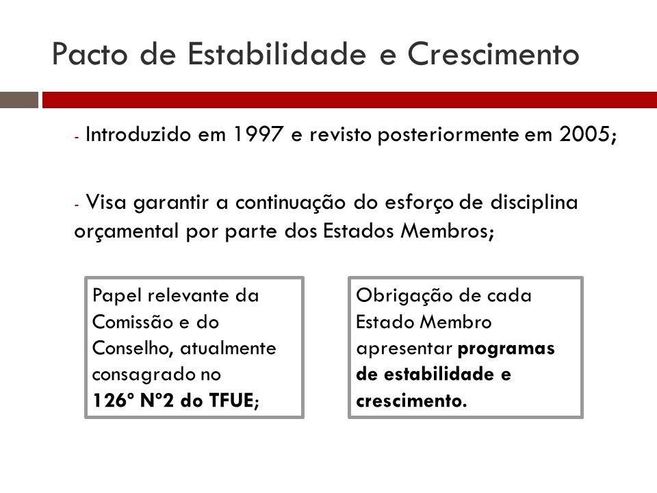 Pacto de Estabilidade e Crescimento - Introduzido em 1997 e revisto posteriormente em 2005; - Visa garantir a continuação do esforço de disciplina orçamental por parte dos Estados Membros; Papel relevante da Comissão e do Conselho, atualmente consagrado no 126º Nº2 do TFUE; Obrigação de cada Estado Membro apresentar programas de estabilidade e crescimento.