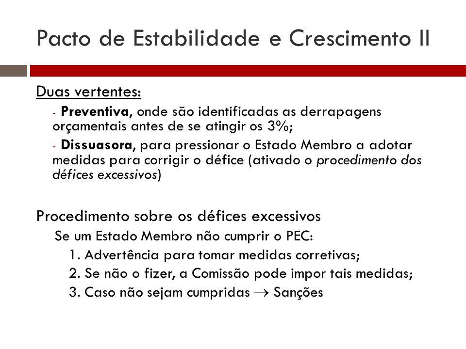 Pacto de Estabilidade e Crescimento II Duas vertentes: - Preventiva, onde são identificadas as derrapagens orçamentais antes de se atingir os 3%; - Di