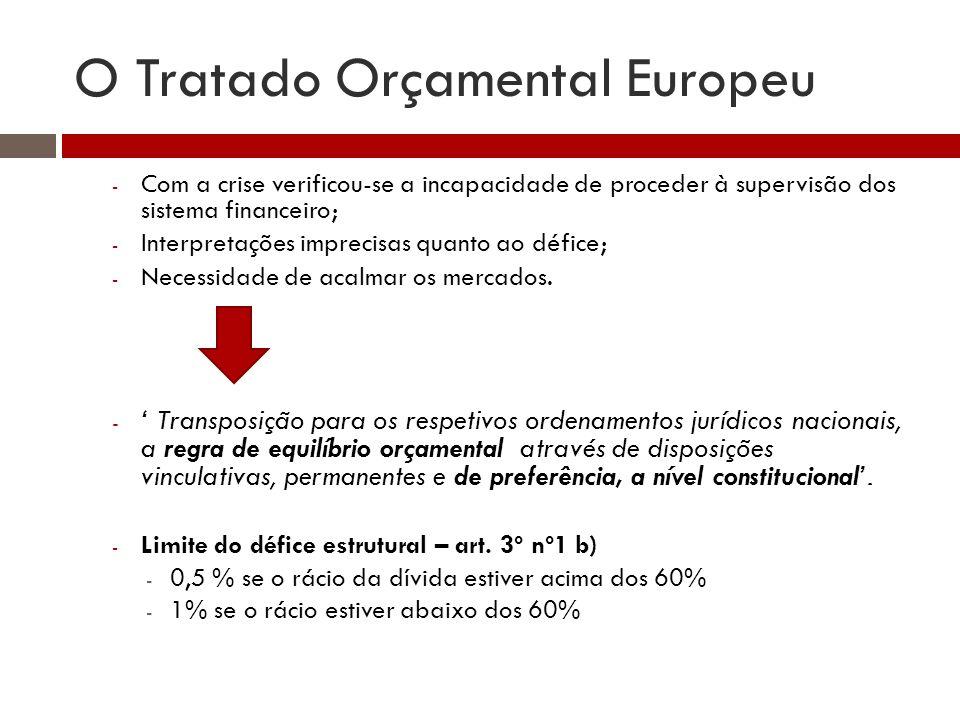 O Tratado Orçamental Europeu - Com a crise verificou-se a incapacidade de proceder à supervisão dos sistema financeiro; - Interpretações imprecisas quanto ao défice; - Necessidade de acalmar os mercados.