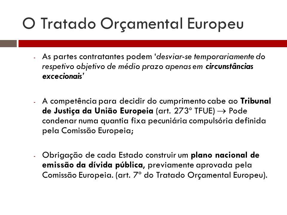 O Tratado Orçamental Europeu - As partes contratantes podem desviar-se temporariamente do respetivo objetivo de médio prazo apenas em circunstâncias excecionais - A competência para decidir do cumprimento cabe ao Tribunal de Justiça da União Europeia (art.