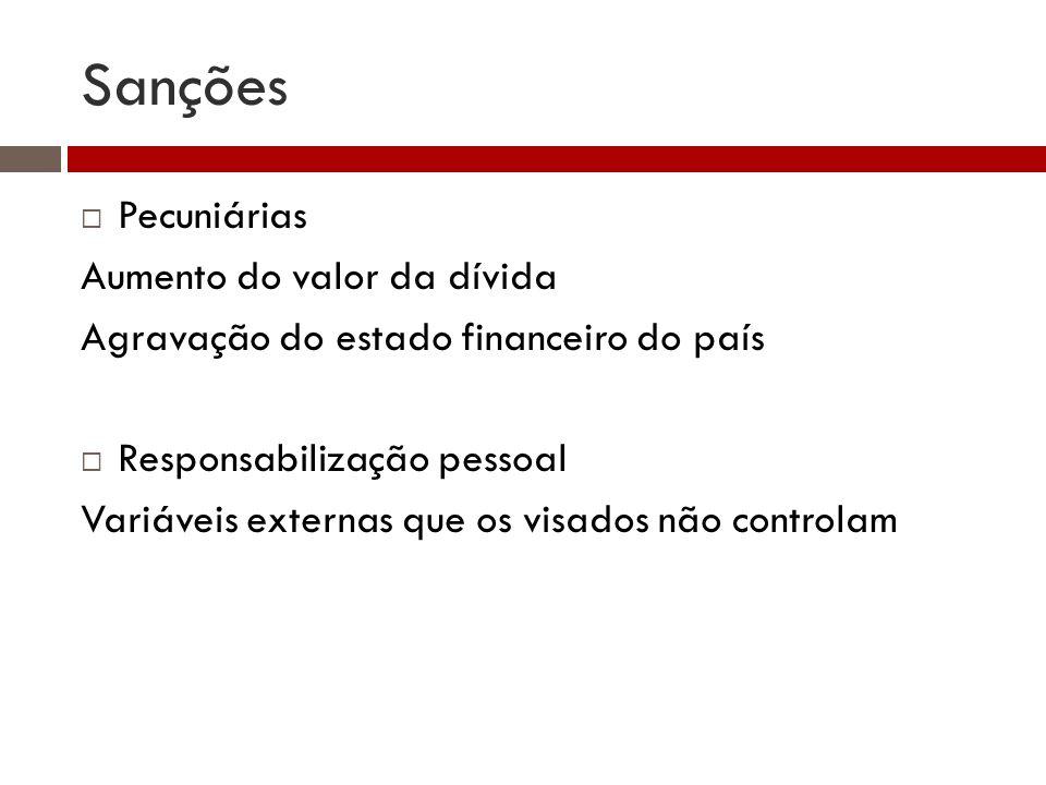 Sanções Pecuniárias Aumento do valor da dívida Agravação do estado financeiro do país Responsabilização pessoal Variáveis externas que os visados não controlam