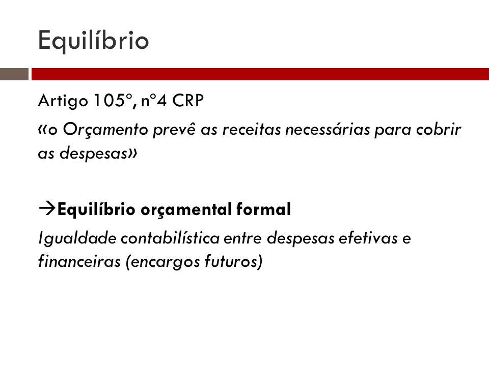 Equilíbrio Artigo 105º, nº4 CRP «o Orçamento prevê as receitas necessárias para cobrir as despesas» Equilíbrio orçamental formal Igualdade contabilíst