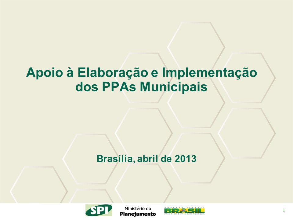 1 Apoio à Elaboração e Implementação dos PPAs Municipais Brasília, abril de 2013