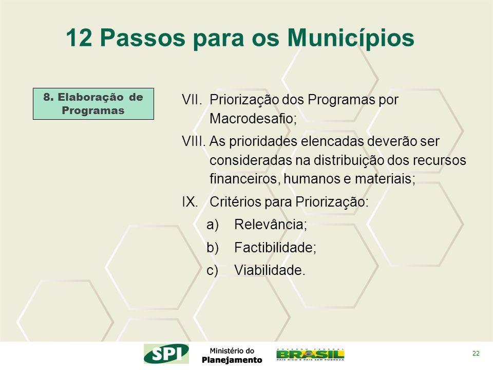 22 12 Passos para os Municípios 8. Elaboração de Programas VII.Priorização dos Programas por Macrodesafio; VIII.As prioridades elencadas deverão ser c