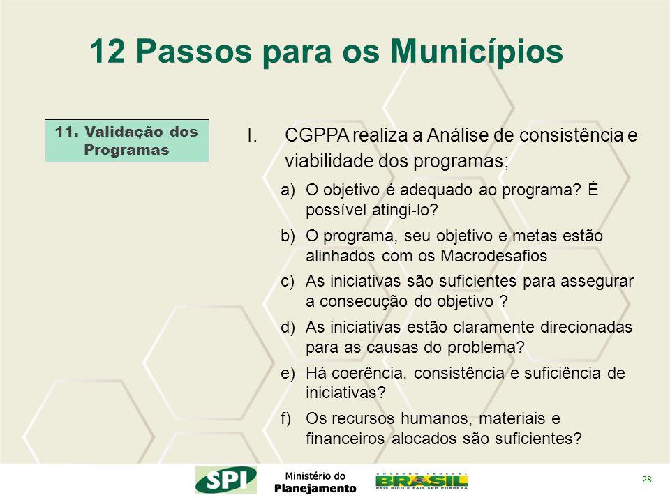 28 12 Passos para os Municípios 11. Validação dos Programas I.CGPPA realiza a Análise de consistência e viabilidade dos programas; a)O objetivo é adeq